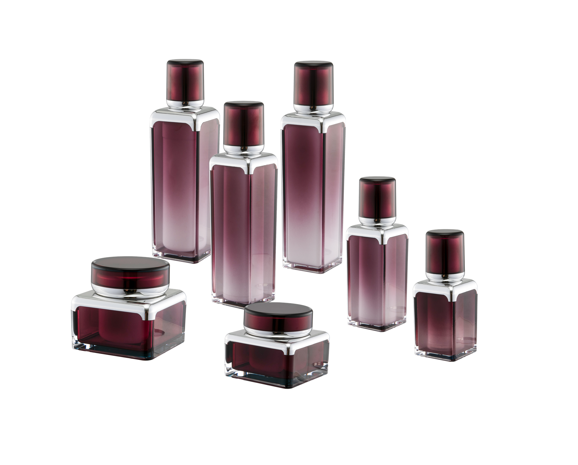 KR-4001 Packaging cosmetic jars acrylic bottle and jar new bottle set for cosmetic